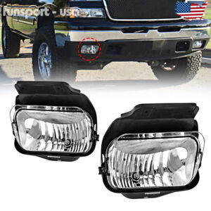 For 03 06 Chevy Silverado Avalanche 1500 2500 Fog Lights Clear Bumper Lamps Pair