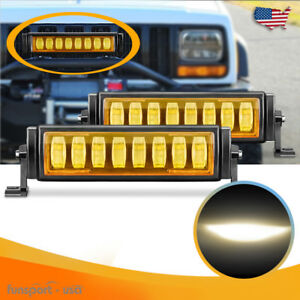 2x Offroad Osram Amber Led Light Bar 10inch 120w For Ford Jeep Truck Reverse Fog