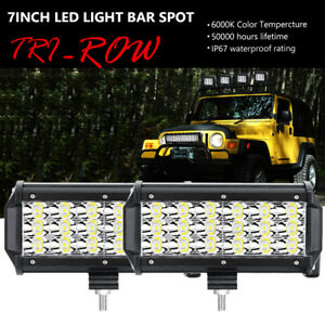 2x Tri Row 7 Inch 180w Led Work Light Bar Spot Offroad Driving 4wd Truck Lamp 6