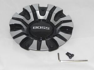 Boss Motorsports Series 345 Gloss Black And Machined 3287 Wheel Rim Center Cap