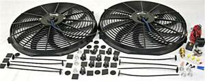 Dual 16 Electric Curved S blade Cooling Radiator Fan 210 Deg Thermostat Kit