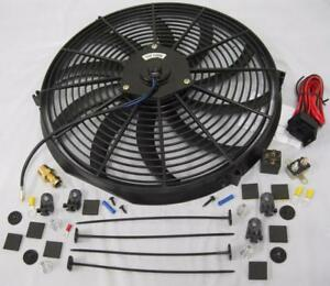 16 Electric Curved Heavy Duty Cooling Radiator Fan Thermostat Relay Mount Kit