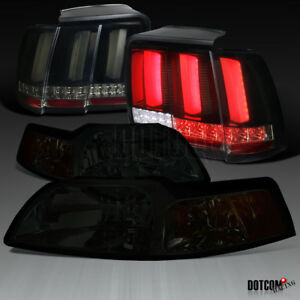 1999 2004 Ford Mustang Smoke Headlights glossy Black Sequential Led Tail Lights
