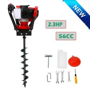 52cc Gas Powered Post Hole Digger W 4 Earth Auger Power Engine One Man Drill