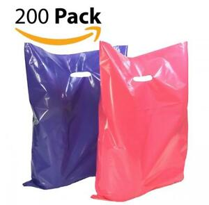 200 12 X 15 Large Purple And Pink Merchandise Plastic Glossy Bags With