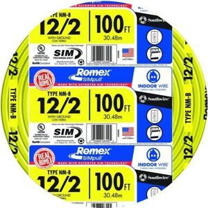 Southwire Electrical Cable Wire 100 Ft 12 2 Solid Romex Simpull Cu Nm B W G New