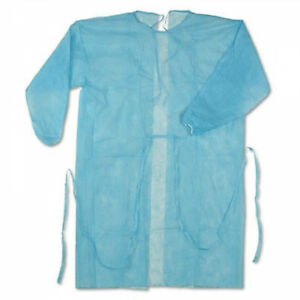 Lot Of 100 Disposable Blue Isolation Gown Cover Protection Standard 2 Cases