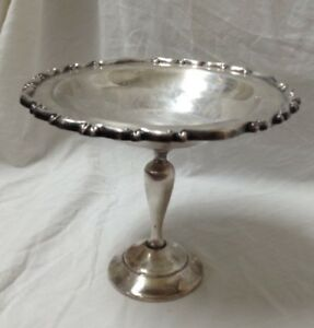 Vintage F B Rogers Silver Co Candy Dish Serving Bowl Silverplate Round Pedestal