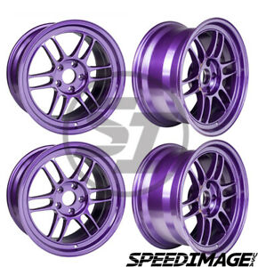 Rare 4x Enkei Rpf1 17x9 22 Offset 5x114 3 Purple Racing Set Of 4 Wheels