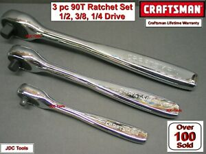 Craftsman Tools 3pc 1 4 3 8 1 2 Sealed Head Fine Tooth Ratchet Wrench Set 90t