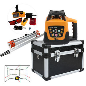 500m Automatic Self leveling Rotary Rotating Red Laser Level Kit Tripod Staff