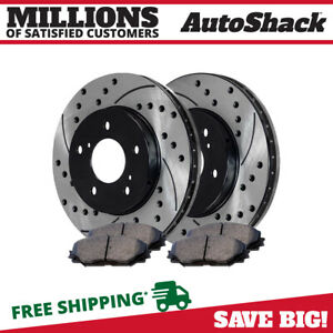 Front Set Drilled Slotted Brake Rotors Ceramic Pads Kit For 09 11 Toyota Corolla