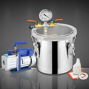 2 Gallon Vacuum Chamber 4 Cfm Single Stage Pump Degassing Silicone Kit