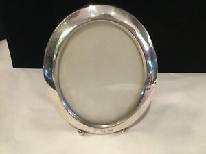 Antique Thick Sterling Silver Oval Picture Frame With Round Feet No Reserve