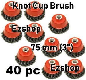 40 Pc 3 X 5 8 11 Nc Fine Knot Wire Cup Brush Twist For Angle Grinders Wheel