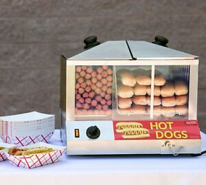 Commercial Hot Dog Steamer Cooker Machine Electric 100 Dog 48 Bun Professional