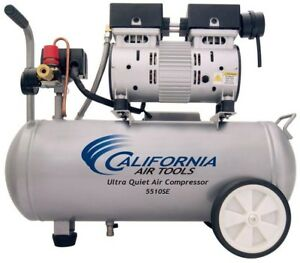 Electric Wheeled Air Compressor Oil Free 5 5 Gal 1 0 Hp Ultra Quiet Steel Tool