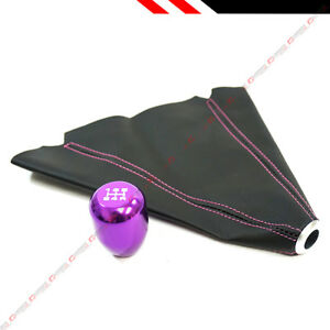 M10 X 1 5 Jdm Type r Style Purple 5 Speed Shifter Gear Knob Leather Shift Boot