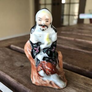 Antique Chinese Famille Porcelain Robed Scholar Art Figurine Statue Nice Nr