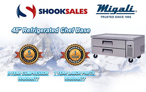 Migali C cb48 48 Refrigerated Chef Base Two Drawer 9 4 Cu ft