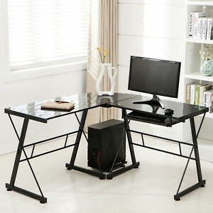 Black L shape Glass Corner Computer Desk Laptop Pc Table Workstation Home Office