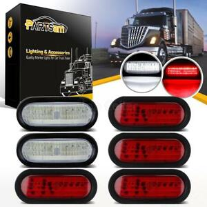 4xred 2xwhite 6 Oval Bright 60led Stop Turn Tail Brake Backup Light Submersible