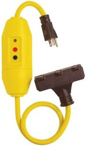 Gfci Triple Tap Cord 25ft In line Heavy Duty Pvc Jacket With On Indicator Light
