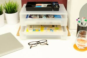Box Drawer Document Tray Office Desktop Organizer School Supplies Stationery New