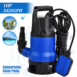 1hp 3432gph Submersible Dirty Clean Water Pump Swim Pool Pond Flood Drain 750w