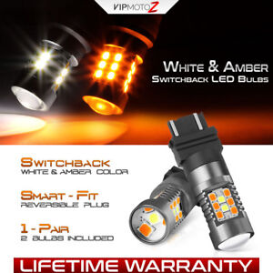 White Amber 3057 4157 3457 3157 Switchback Led Bulbs Signal Parking Gunmetal