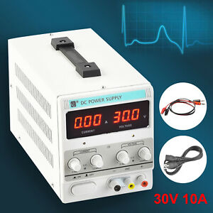 10a 30v Dc Power Supply Adjustable Variable Dual Test Lab W Led Digital Display
