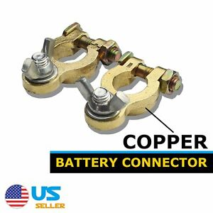 Pair Copper Marine Battery Terminal Charger Wire Cable Top Post Fast Connector