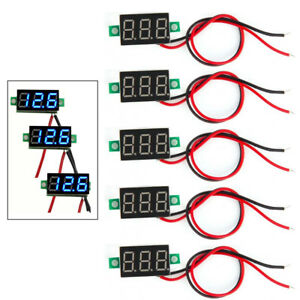 5pcs Mini Blue Dc 3 30v Led Panel Voltmeter 3 Digital Display Voltage Meter New