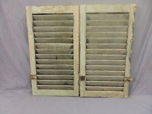 Pair Antique House Window Wood Louvered Shutters 27x15 Shabby Vtg Chic 306 18p