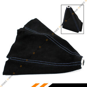 Black Suede Manual Shift Shifter Boot Cover With Blue Stitching For Mazda