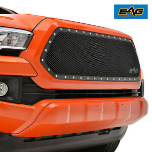 Eag Fit 16 21 Toyota Tacoma 1pc Cutout Black Stainless Steel Mesh Rivet Grille