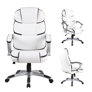 New Ergonomic Office Chair Pu Leather High Back Executive Desk Task Swivel White