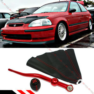 For 1990 01 Acura Integra Red Dual Bend Short Shifter shift Knob Leather Boot