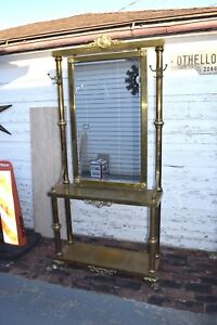 Neoclassical Brass Hall Tree Mirror Coat Hanger And Console Table