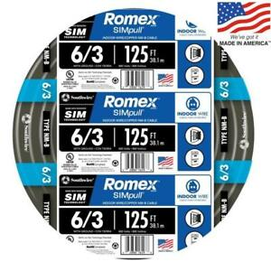 Southwire 63950002 Romex Simpull 125 ft 6 3 Non metallic Wire by the roll New