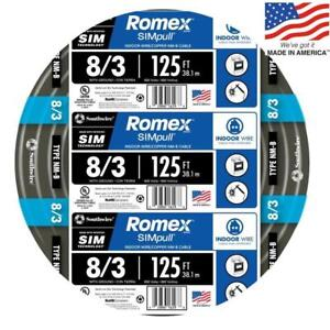 Southwire 63949202 Romex Simpull 125 ft 8 3 Non metallic Wire by the roll New