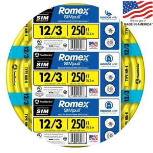 Southwire 63947655 Romex Simpull 250 ft 12 3 Non metallic Wire by the roll New
