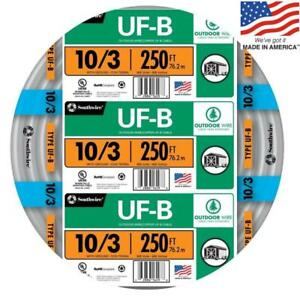 Southwire 13059155 250 ft 10 3 Uf b Wire by the roll New Free Shipping