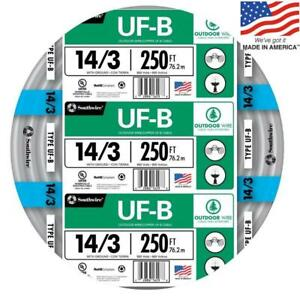 Southwire 13057555 250 ft 14 3 Uf b Wire by the roll New Free Shipping