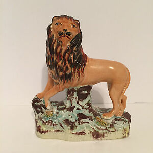 Antique Staffordshire Figure Maned Lion Standing On A Shaped Base C1860
