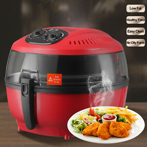 6qt White Electric Air Fryer Timer Temperature Cooking Oil less Griller Roaster
