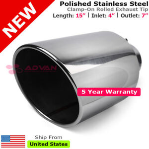 Stainless Truck Angled Polished 15 Inch Bolt On Exhaust Tip 4 In 7 Out 203035