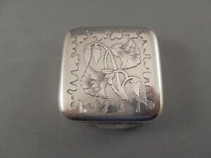 Old Antique Victorian Silver Plated Pill Or Trinket Box W Engraved Flowers