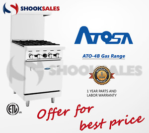 Atosa Ato 4b 24 Propane Gas Range 4 Open Burners With One 20 Wide Oven