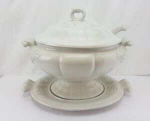 Red Cliff American White Ironstone Large Soup Tureen W Lid Underplate